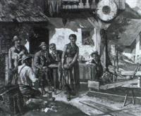 kegelspiel vor dem bauernhaus by l. sellenati