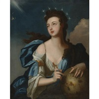 allegorical portrait of urania, muse of astronomy by louis tocqué