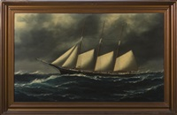 the three-masted schooner van name & king in stormy seas by solon francis montecello badger