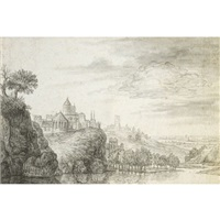 view of a town, with church and castle buildings above a river by gerrit (gerard) battem