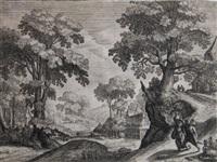 die landschaft mit einem bauernpaar auf der straße (after joos van lier) by hendrik hondius the elder