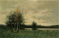 new england landscape with pond by arthur hoeber