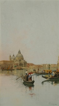 venetian canal scene with a view of san marco by giuseppe vizzotto alberti
