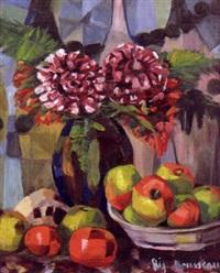 still life with flowers and apples by jeanne rij-rousseau