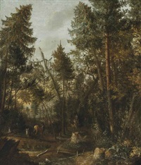 a wooded landscape with deer near a pond by pietersz (pieter) barbiers