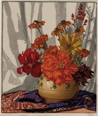 blumenstillleben in vase by hugo noske