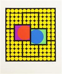 composition cinétique en jaune et noir, avec cercles rouge et noir by victor vasarely