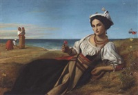 a girl collecting poppies, reclining in a coastal landscape by john rogers herbert