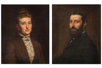 portrait d'une dame (+ portrait d'un homme; pair) by evert jan boks