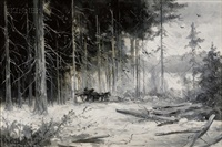 winter landscape with plowhorse and cart by georgina m. de l' aubiniere