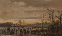 winterliches eisvergnügen by adolf stademann