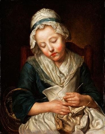 tricoteuse endormie beim stricken eingeschlafenes mädchen by jean baptiste greuze