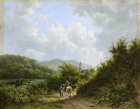 begegnung auf dem weg am flussufer by alexander joseph daiwaille