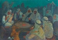 nächtliche beduinenszene am lagerfeuer by marcel amiguet