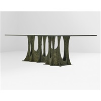 sculptured dining table (pe102) by paul evans