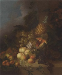 grapes, peaches, pears, apples, apricots, a melon and a pineapple on a ledge by joseph rhodes