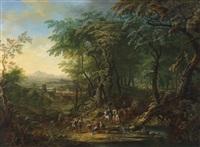 bewaldete landschaft mit reisenden by franz christoph janneck