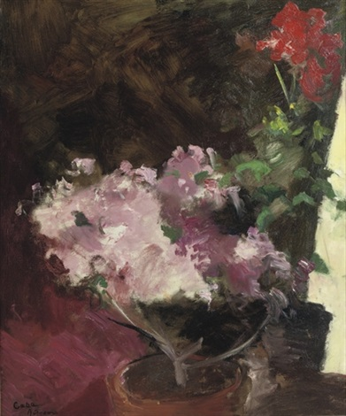 roze bloemen azaleas and geraniums by coba jacoba johanna ritsema