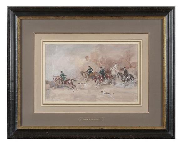 scène de chasse à courre by antoine de la boulaye