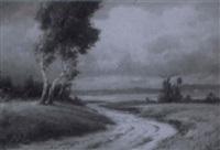 vor dem herbststurm (weite landschaft mit birken) by carl kenzler