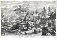 vier jahreszeiten, landschaften mit großen gebäuden (portfolio of 4 after pieter stevens) by hendrik hondius the elder