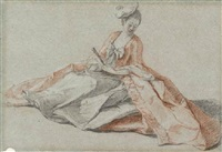 study of a young lady with a fan sitting on the ground, looking down by michel barthelemy olivier