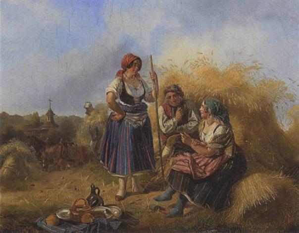 rast bei der kornernte by ludwig elsholtz