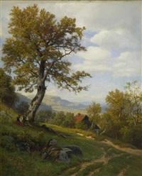 spätsommerliche landschaft mit rastendem bauernpaar by carl von der hellen