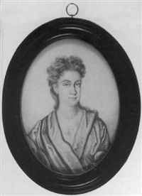 portrait of mrs. thomas hay, in loose fitting robes with striped lining by thomas forster
