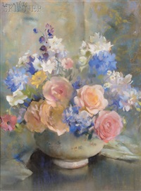 roses and larkspur by laura coombs hills