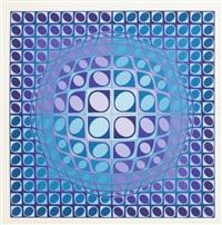 composition cinétique en bleu et violet by victor vasarely