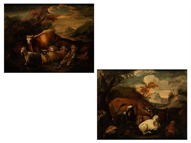 bergige landschaft mit jungem hirten neben ziegen und schafen und einer kuh alter weißbärtiger hirte neben schafen und ziegen und rind auf einem stein sitzend pair by philipp peter roos