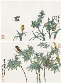 花鸟翠竹 (两件) 镜片 纸本 (2 works) by cheng shifa