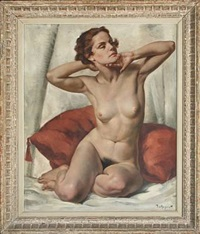 portrait of a young naked woman seated en face to the right by philippe de rougemont