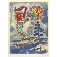 sirène au pin / sirène and pine trees by marc chagall