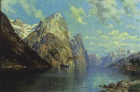 a fjord with steamship by carl bertold