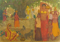 brunnenszene in indien mit frauen und affen unter bodhibaum by marcel amiguet