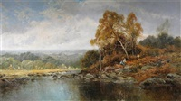 river landscape with figures on the banks (+ another; pair) by h. k. foster