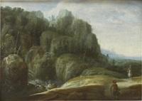 bergslandskap med figurer by gillis (egidius i) peeters