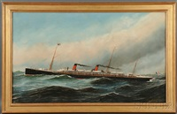 portrait of the french screw steamer la touraine by antonio jacobsen
