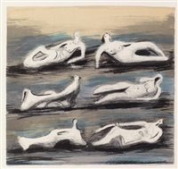 six reclining figures with blue background by henry moore