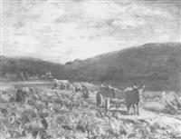 taunuslandschaft mit bauern bei der feldarbeit by wilhelm runze