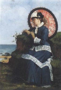 an elegant lady by the shore with a pink parasol by albert auguste fourié