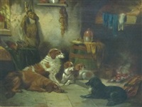 dogs resting by a fire by george armfield