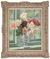 a collection of roses in a silver urn, on a stone ledge by margaret niven