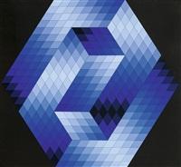 composition cinétique en bleu sur fond noir by victor vasarely