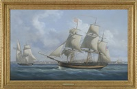 portrait of the ship alfred of salem in boston harbor with numerous ships and boston in the distance by louis dodd