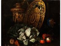 grosses stilleben mit goldenem prunkgeschirr, kohlkopf und früchten by giuseppe recco