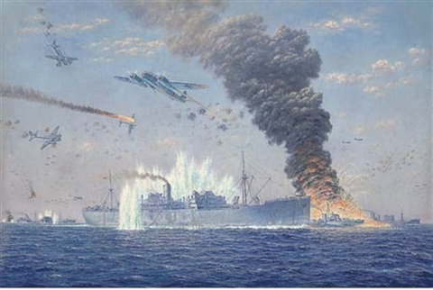 the malta convoy pedestal under attack by ju 88s near cape bon august 1942 by oswald longfield brett