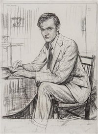 stephen, woodcutting, seated portrait of the artist stephen bone, by francis h. dodd